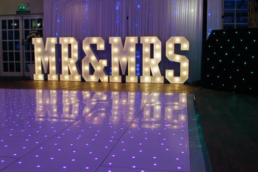 Mr and Mrs Letters with Led Dance floor
